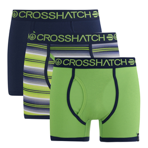 Crosshatch Men's Neonic 3-Pack Boxers - Green Flash/Dress Blue