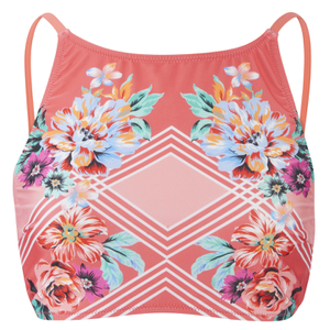 MINKPINK Women's Bloomin Beach Laced Back Bikini Top - Pink