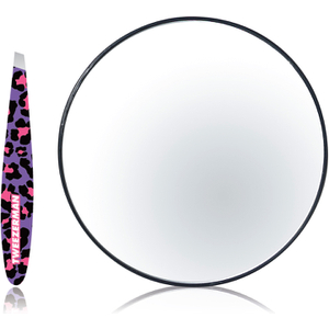 Tweezerman Fashion Leopard Mini Slant Tweezer with 10x Mirror