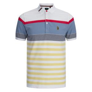 Luke 1977 Sport Men's Carnoustie Golf Striped Polo Shirt - White Mix