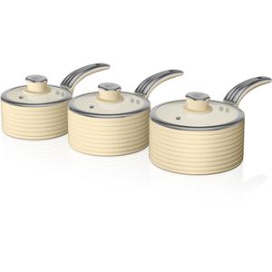 Swan SWPS3020CN 3 Piece Retro Aluminium Saucepan Set - Cream