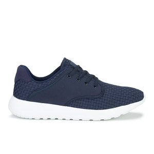 Crosshatch Men's Runner Suede Side Panel Trainers - Peacoat
