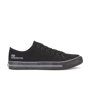Crosshatch Men's Runway Canvas Trainers - Black/Black