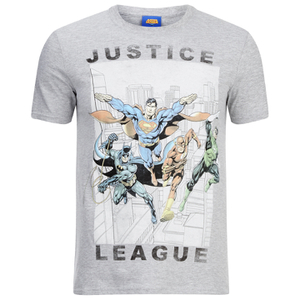 DC Comics Justice League Flying Herren T-Shirt - Grau