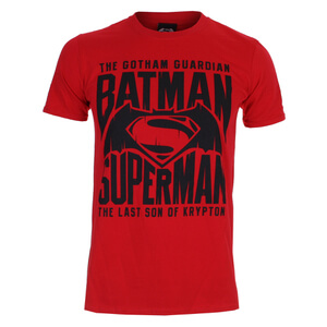 DC Comics Men's Batman v Superman Gotham Guardian T-Shirt - Cherry Red