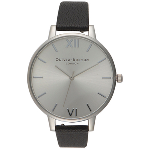 Olivia Burton Women's Gift Set Big Dial Watch - Black/Silver with Interchangeable Grey Lilac Strap