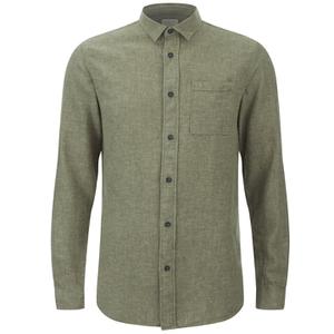 Selected Homme Men's None Trent Solid Long Sleeve Shirt - Olive Night Melange