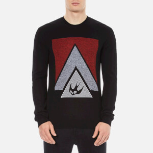 McQ Alexander McQueen Men's Swallow Glyph Crew Sweatshirt - Black/Blaze Red