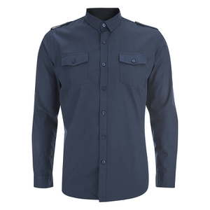 Brave Soul Men's Charlie Pocket Long Sleeve Shirt - Navy