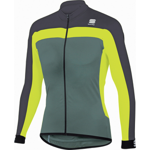 Sportful Pista Long Sleeve Jersey - Green/Yellow/Grey