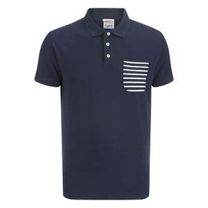 Jack & Jones Men's Originals Extra Stripe Pocket Polo Shirt - Navy/White
