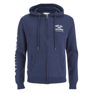 Soul Cal Men's Sleeve Print Logo Zip Through Hoody - Navy
