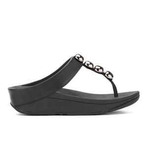 FitFlop Women's Rola Leather Toe-Post Sandals - Black - UK 7