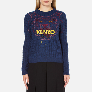 KENZO Women's Long Sleeve Tiger Jumper - Blue