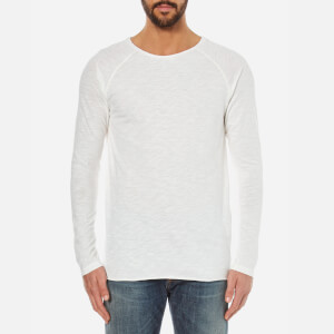 Nudie Jeans Men's Otto Raw Hem Long Sleeve Top - Ecru