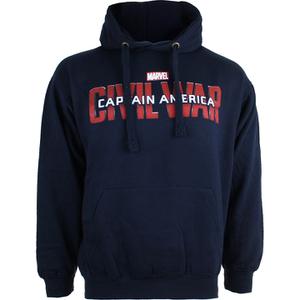 Marvel Mens Captain America Civil War Logo Hoody - Navy