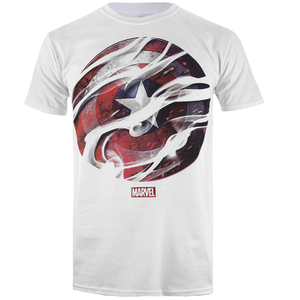 Marvel Men's Captain America Civil War Smoke Sheild T-Shirt - White