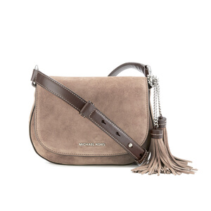 MICHAEL MICHAEL KORS Elyse Suede Tassle Saddle Bag - Grey
