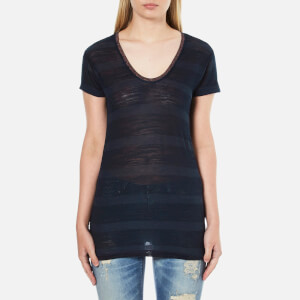 Maison Scotch Women's Delicate Striped V-Neck T-Shirt - Blue