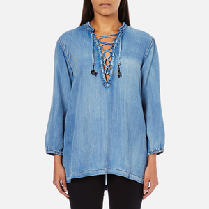 Maison Scotch Women's Drapey Woven Top - Blue