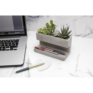 Concrete Desktop Planter and Pen Holder - Large
