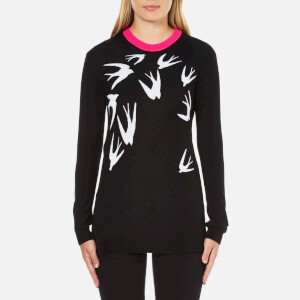 McQ Alexander McQueen Women's Swallow Crew Neck Jumper - Black/White