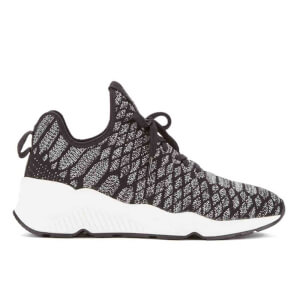 Ash Women's Magma Snake Print Knitted Running Trainers - Black/Grey