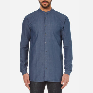 HUGO Men's Eddison Long Fit Grandad Collar Shirt - Navy
