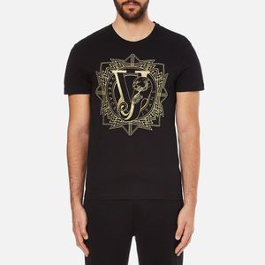 Versace Jeans Men's Embroidered T-Shirt - Black
