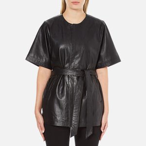 Gestuz Women's Sash Leather Kimono - Black