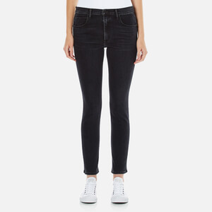 Helmut Lang Women's Contrast Seam Ankle Skinny Jeans - Washed Black