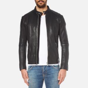 BOSS Orange Men's Jofynn Leather Jacket - Black
