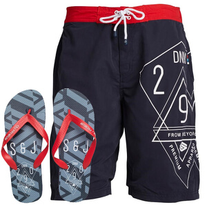 Smith & Jones Men's Amplitude Swim Shorts & Flip Flops - Navy Blazer