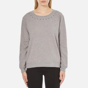 Maison Scotch Women's Crew Neck Sweatshirt with Star Neck Detail - Grey