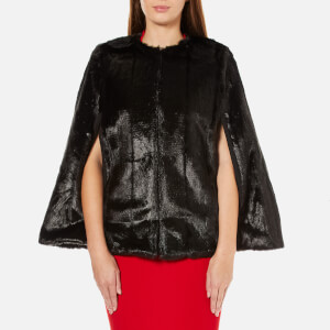 MICHAEL MICHAEL KORS Women's Reversible Faux Fur Cape - Black
