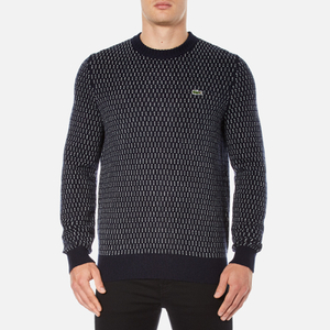 Lacoste L!ve Men's Crew Neck Jumper - Navy Blue/White