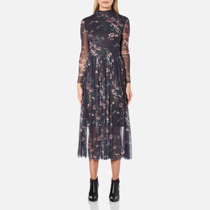 Ganni Women's Delaney Mesh Maxi Dress - Black Bouquet