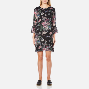 Ganni Women's Bartlett Georgette Flared Sleeve Dress - Black Bouquet