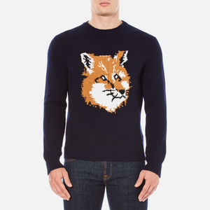 Maison Kitsuné Men's Fox Head Jumper - Navy