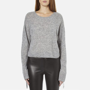 Helmut Lang Women's Crew Neck Cropped Tie Sleeve Jumper - Heather Grey