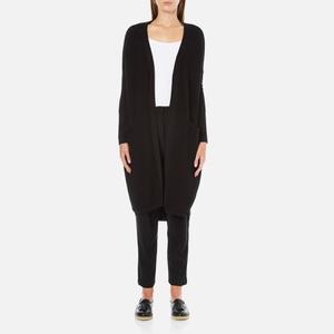 Paisie Women's Ribbed Knee Length Cardigan - Black