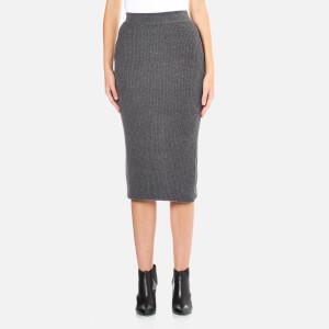 Paisie Women's Ribbed Midi Skirt - Marl Grey