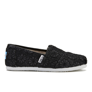 TOMS Kids' Seasonal Classics Slip-On Pumps - Black Crochet Glitter
