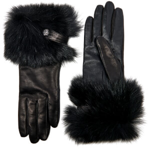 UGG Women's Valentina Swarovski Smart Gloves with Toscana Trim - Black