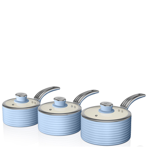 Swan Retro Saucepan Set - Sky Blue (3 Piece)