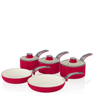 Swan Retro Pan Set - Red (5 Piece)