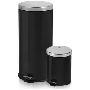 Swan Round Pedal Bins - Black (30L/5L)