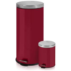 Swan Round Pedal Bins - Red (30L/5L)