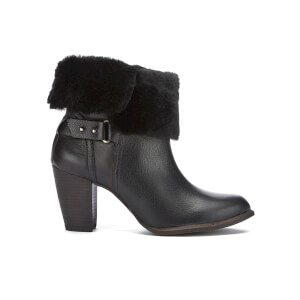 UGG Women's Jayne Suede Sheepskin Heeled Boots - Black