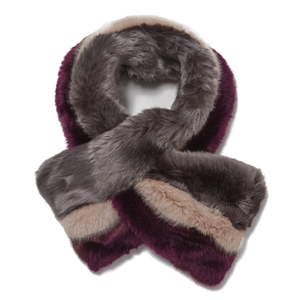 Ted Baker Women's Wyla Triple Stripe Detail Fur Scarf - Mid Purple